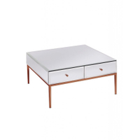 Rose gold stainless steel white glass coffee table modern with 2 drawers