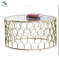 living room vintage metal glass round coffee table