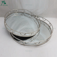 Geometric and Silver Plated Jewelry Storage Mirrored Tray