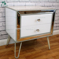 Wood Mirrored Comtempoaray 2 Drawer Bedside Side Table Storage Unit