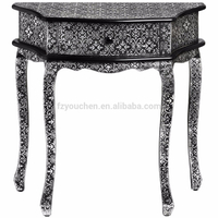 Traditional one drawer corner console table embellished with metallic