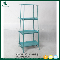 Antique Blue Metal Stackable 3 Tier Shelf