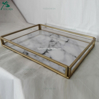Faux Marble Metal Tray Decorative Table Top Serving Tray