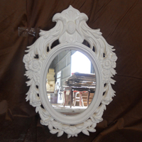 White Color Wood Resin Victorian Style Mirror
