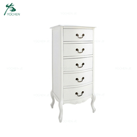 MDF Narrow Tall Wood Side Cabinet Chest of Drawers Wood