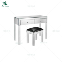 Handmade Wooden Mirrored Dressing Table with stool