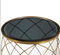 Black Glass Top Living Room Furniture Accent Gold Round Metal Center Table