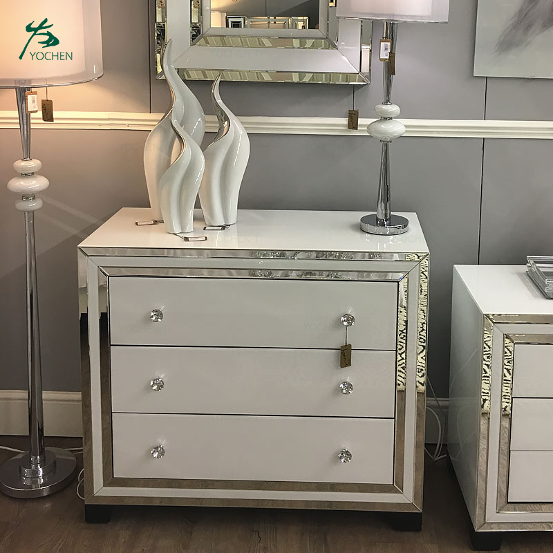 White Mirrored Furniture 3 Drawer nightstand Mirrored Bedside Table