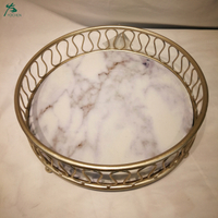 Luxury natural with metal frame chassis storage tray dessert plate desktop ornaments marble tray