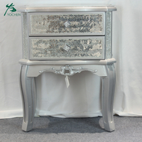 noble silver hand painted wooden mirrored nightstand furniture