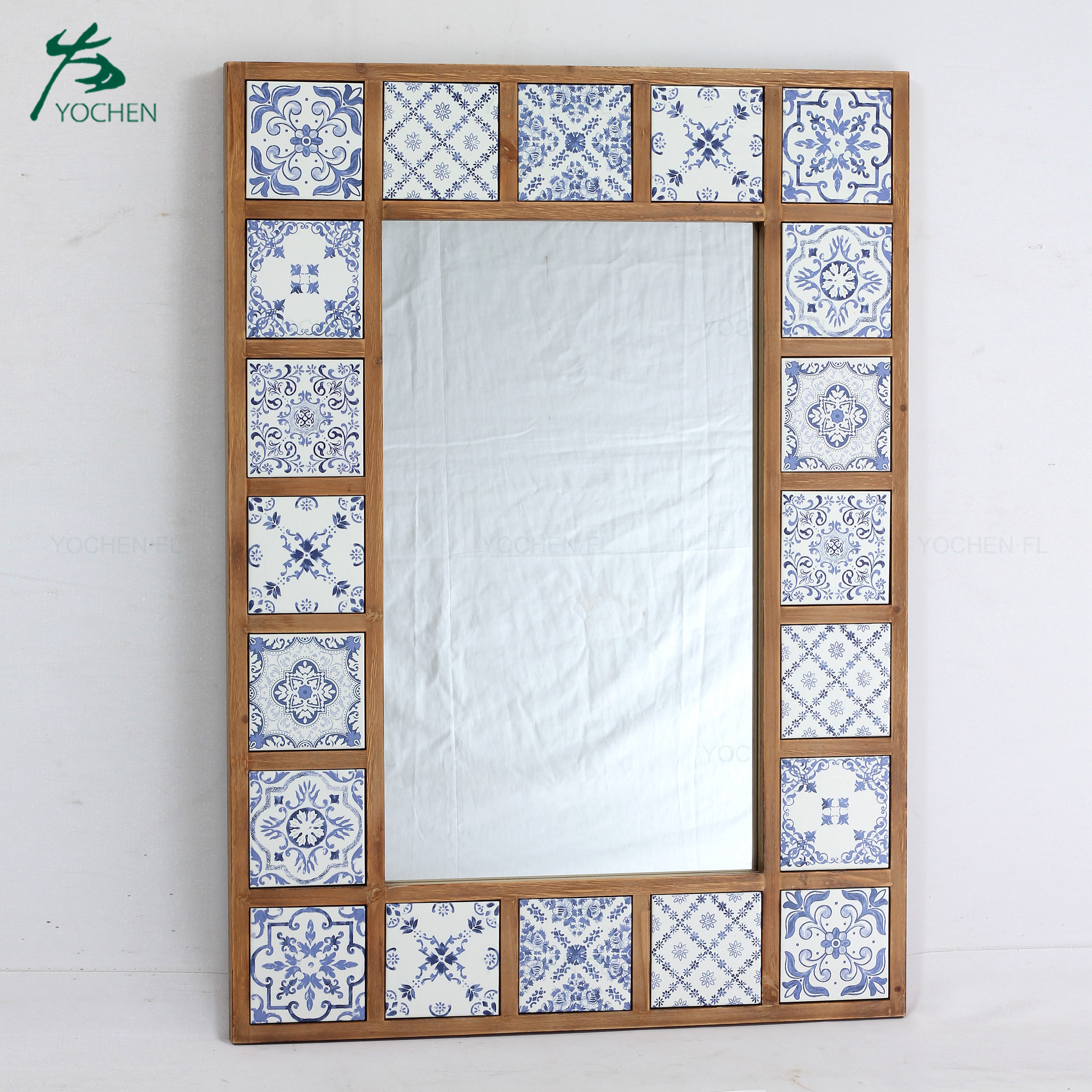 wood nice carve cross decorative wall mirror home decor