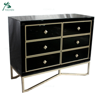 Black Mirrored 6 Drawer Cabinet Bedroom Wooden Drawer Cabinet