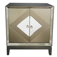 gold mirrored 2 door large cabinet chest of drawers