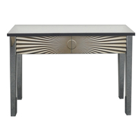 2 drawers MDF wood carved mirrored console table