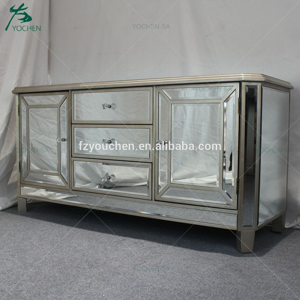 Antique Gold Mirrored Gl 3 Drawer 2